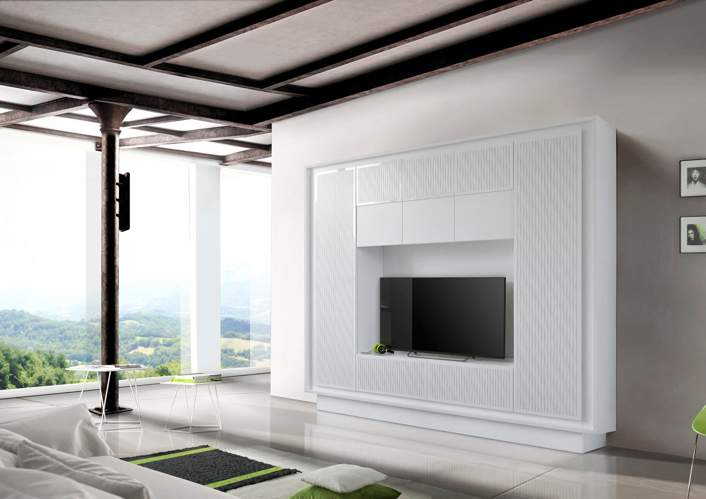 banc tv design laqué blanc mat/sérigraphie rayures etienne | matelpro