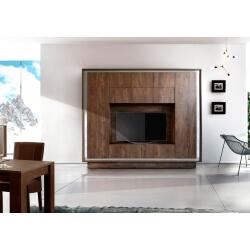 Banc TV design coloris cognac/décor métal satiné Alizée