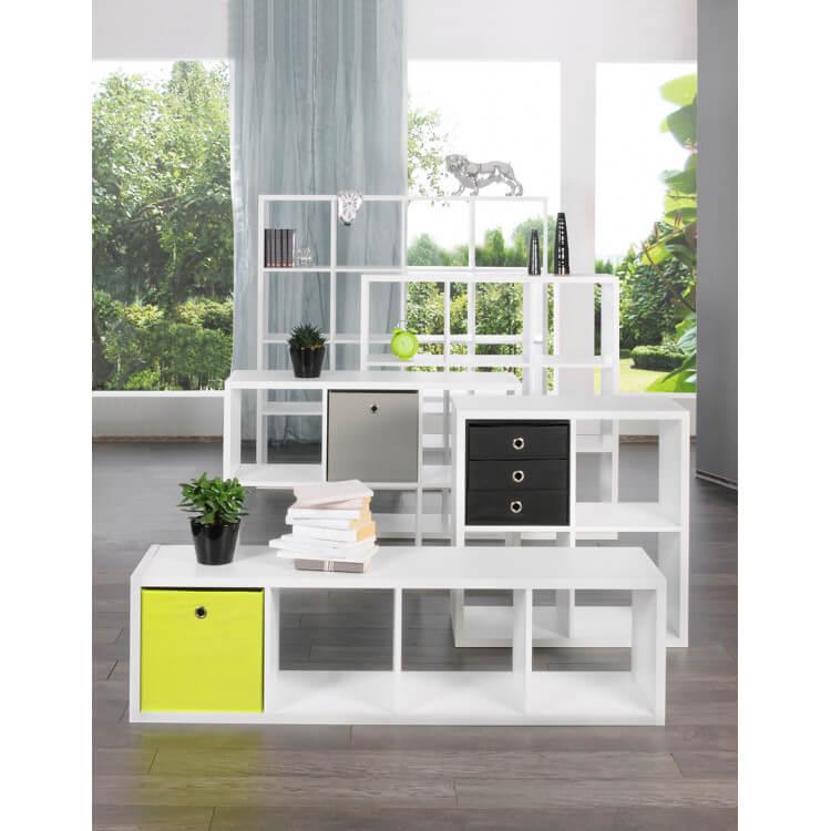 etag re contemporaine carr e 4 compartiments blanche gabrielle matelpro. Black Bedroom Furniture Sets. Home Design Ideas
