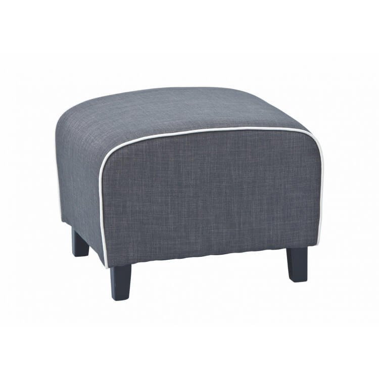 Pouf contemporain en tissu gris Sunset