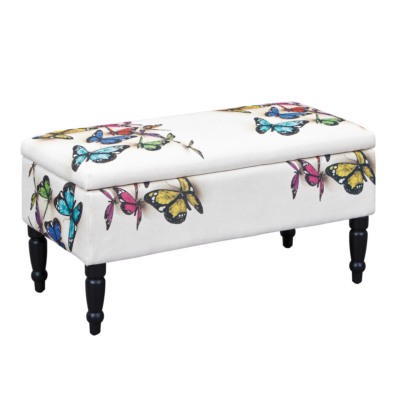 Banquette coffre contemporaine en tissu blanc décor papillon Sunset