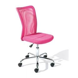 Chaise de bureau design en tissu rose Sylvie