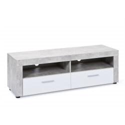 Meuble TV contemporain coloris blanc brillant/gris béton Colibri