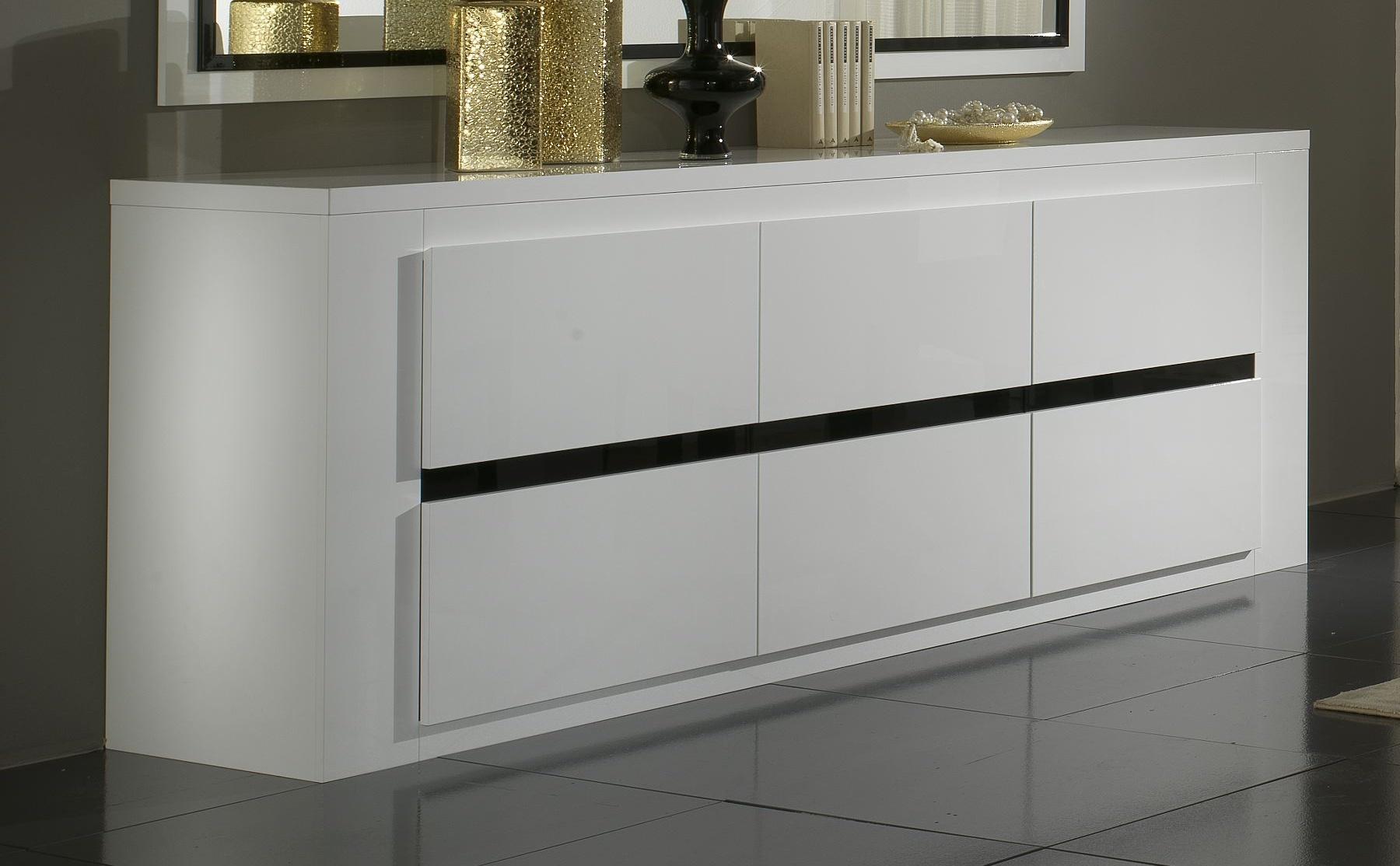 Buffet/bahut design 3 portes laqué blanc et noir Adriana