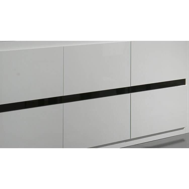 Buffet bahut design 3 portes laqu blanc et noir adriana - Buffet blanc et noir ...