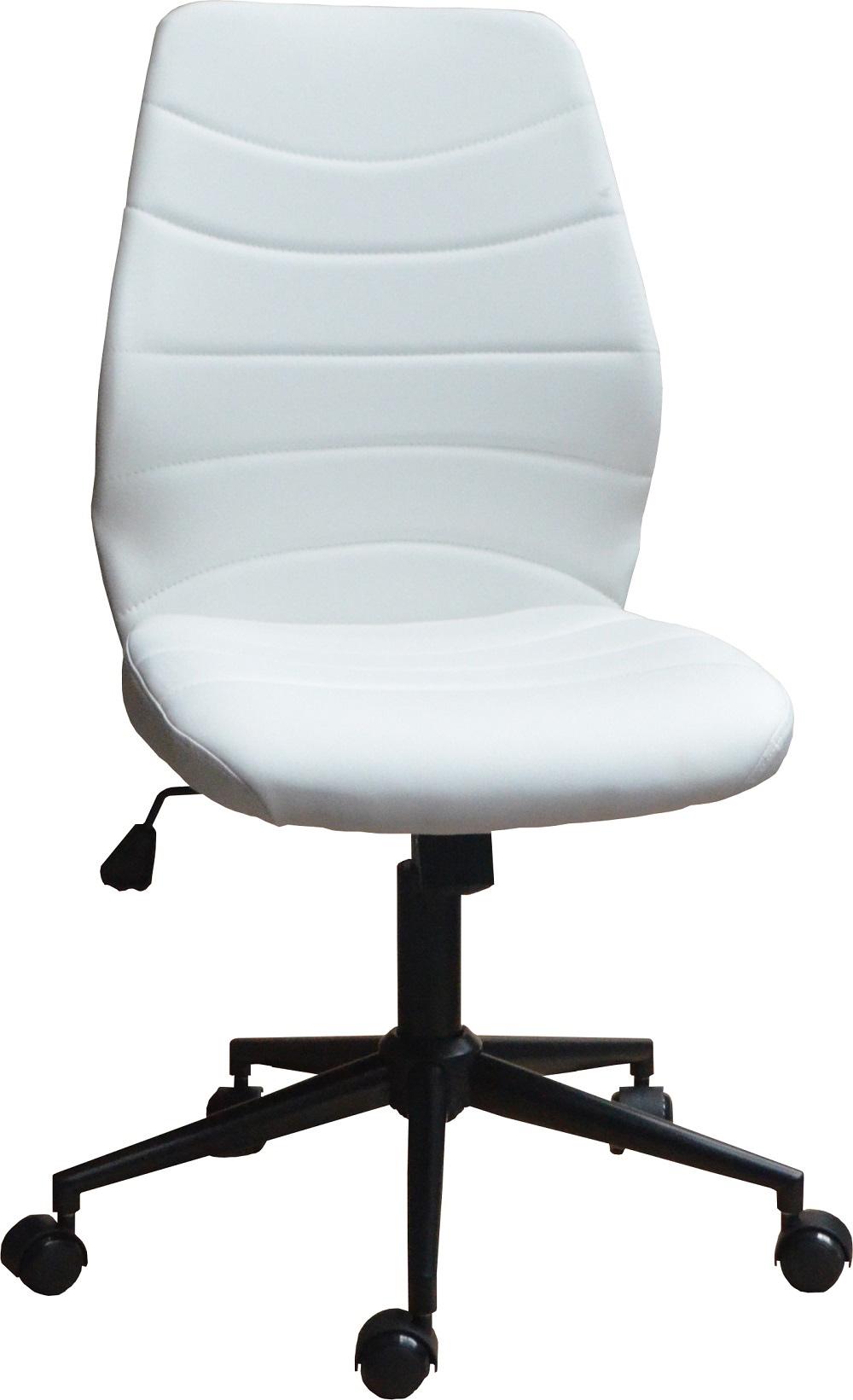 Chaise de bureau design en PU blanc Gina