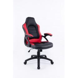 Fauteuil de bureau design en PU noir et rouge Techno