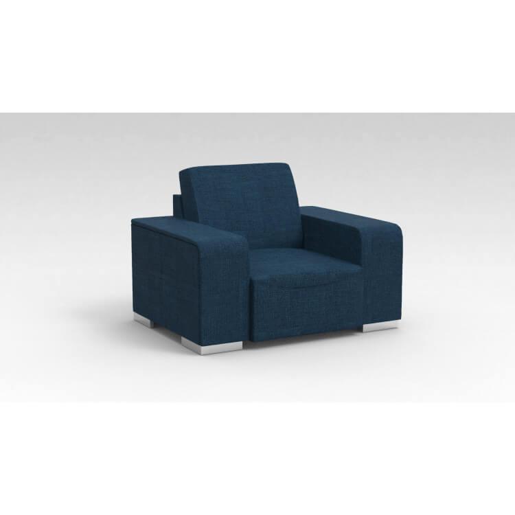Fauteuil design 1 place en tissu bleu Sofiane