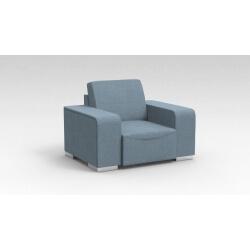 Fauteuil design 1 place en tissu bleu clair Sofiane