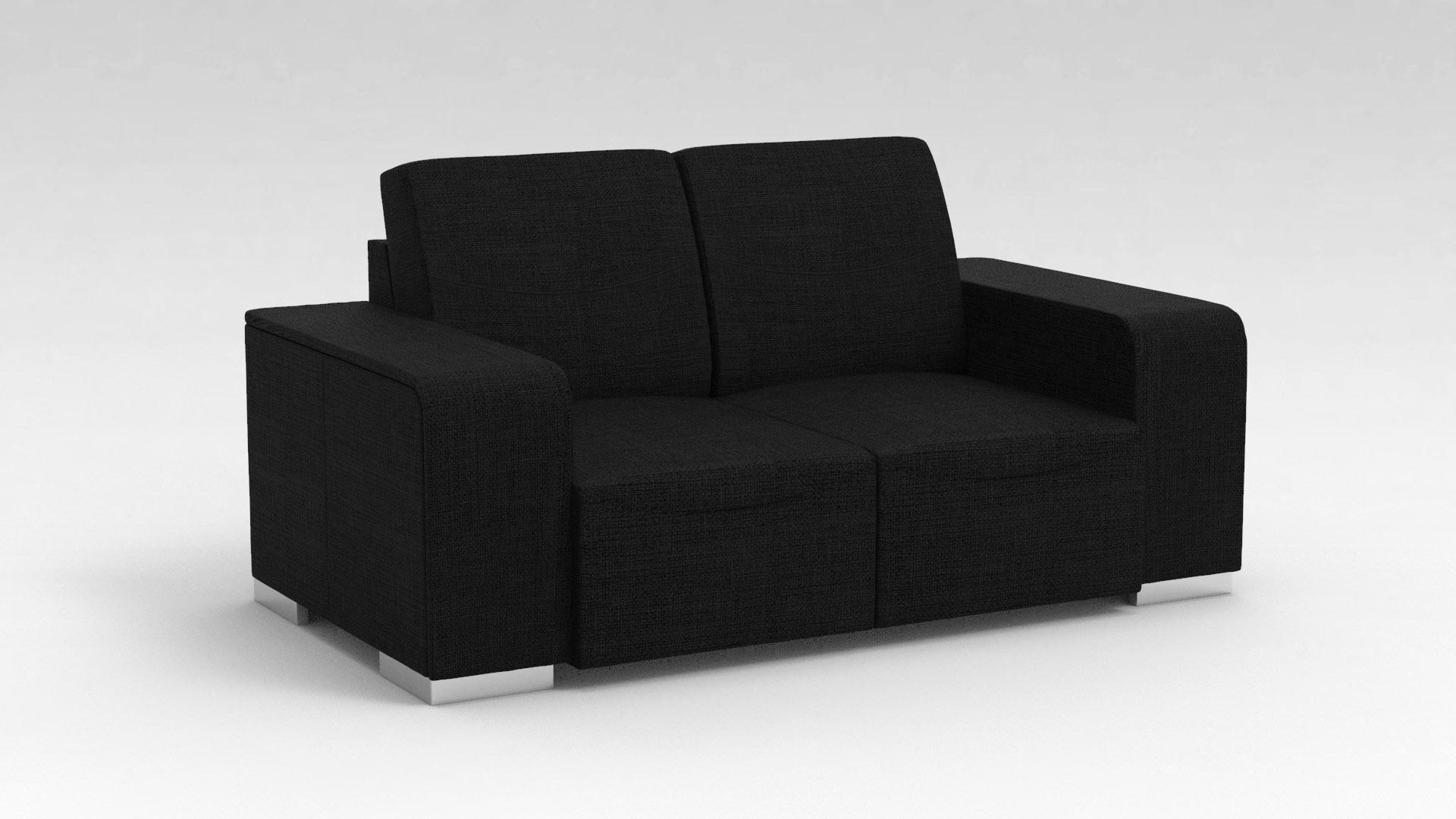 Canapé design 2 places en tissu noir Sofiane