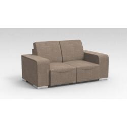 Canapé design 2 places en tissu marron clair Sofiane
