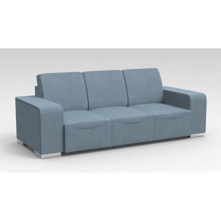 Canapé design 3 places en tissu bleu clair Sofiane