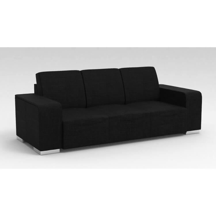 Canapé design 3 places en tissu noir Sofiane