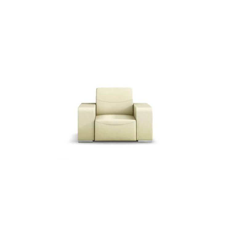 Fauteuil design 1 place en cuir beige Sofiane