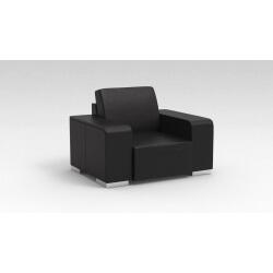 Fauteuil design 1 place en cuir noir Sofiane