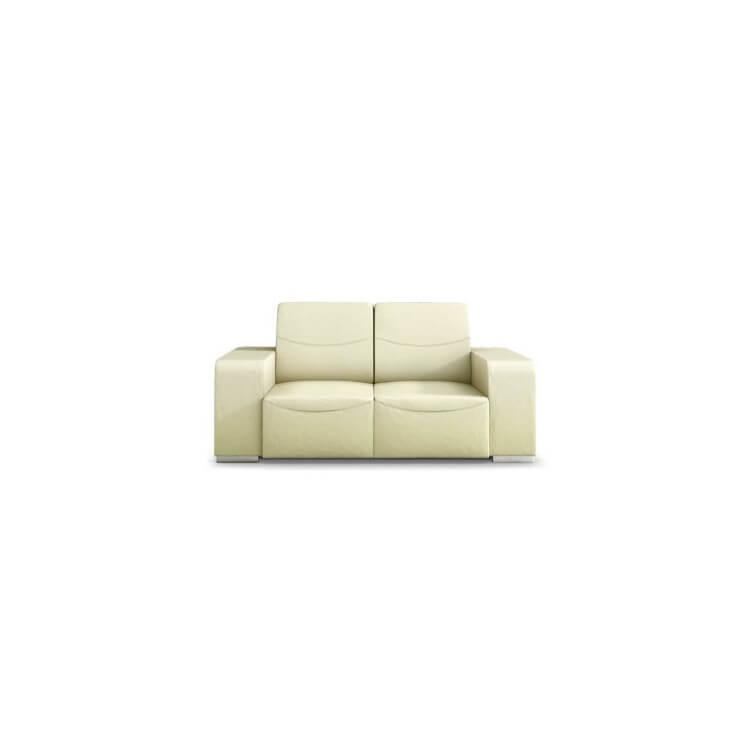 Canapé design 2 places en cuir beige Sofiane