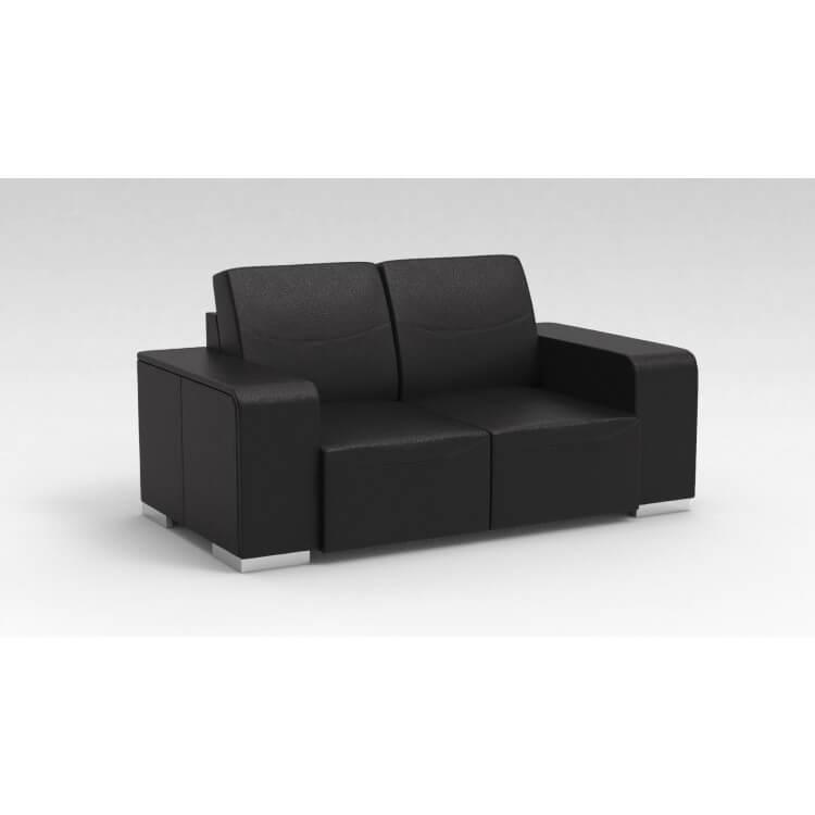 Canapé design 2 places en cuir noir Sofiane