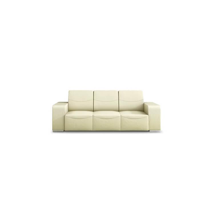 Canapé design 3 places en cuir beige Sofiane
