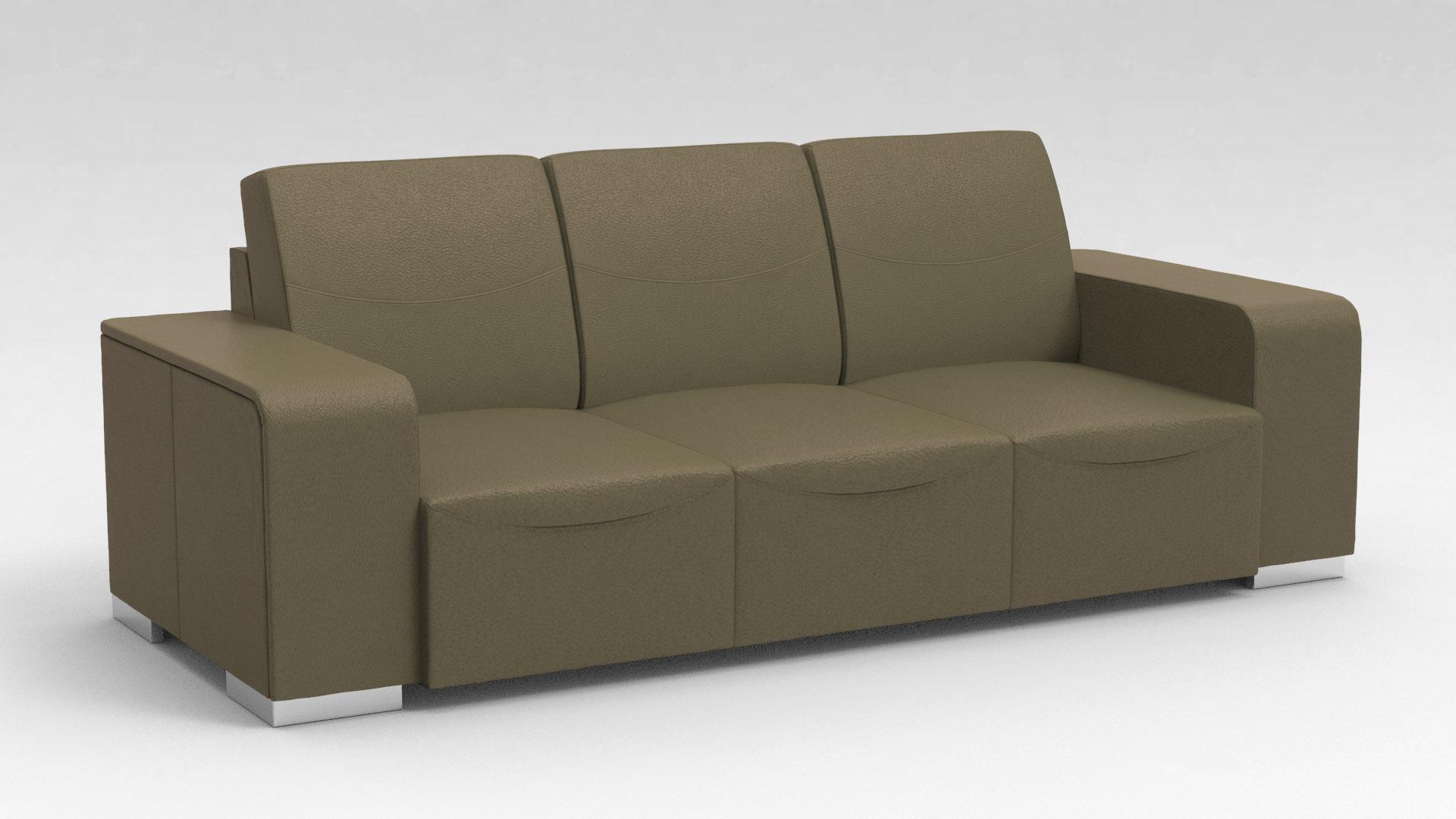 Canapé design 3 places en cuir marron Sofiane
