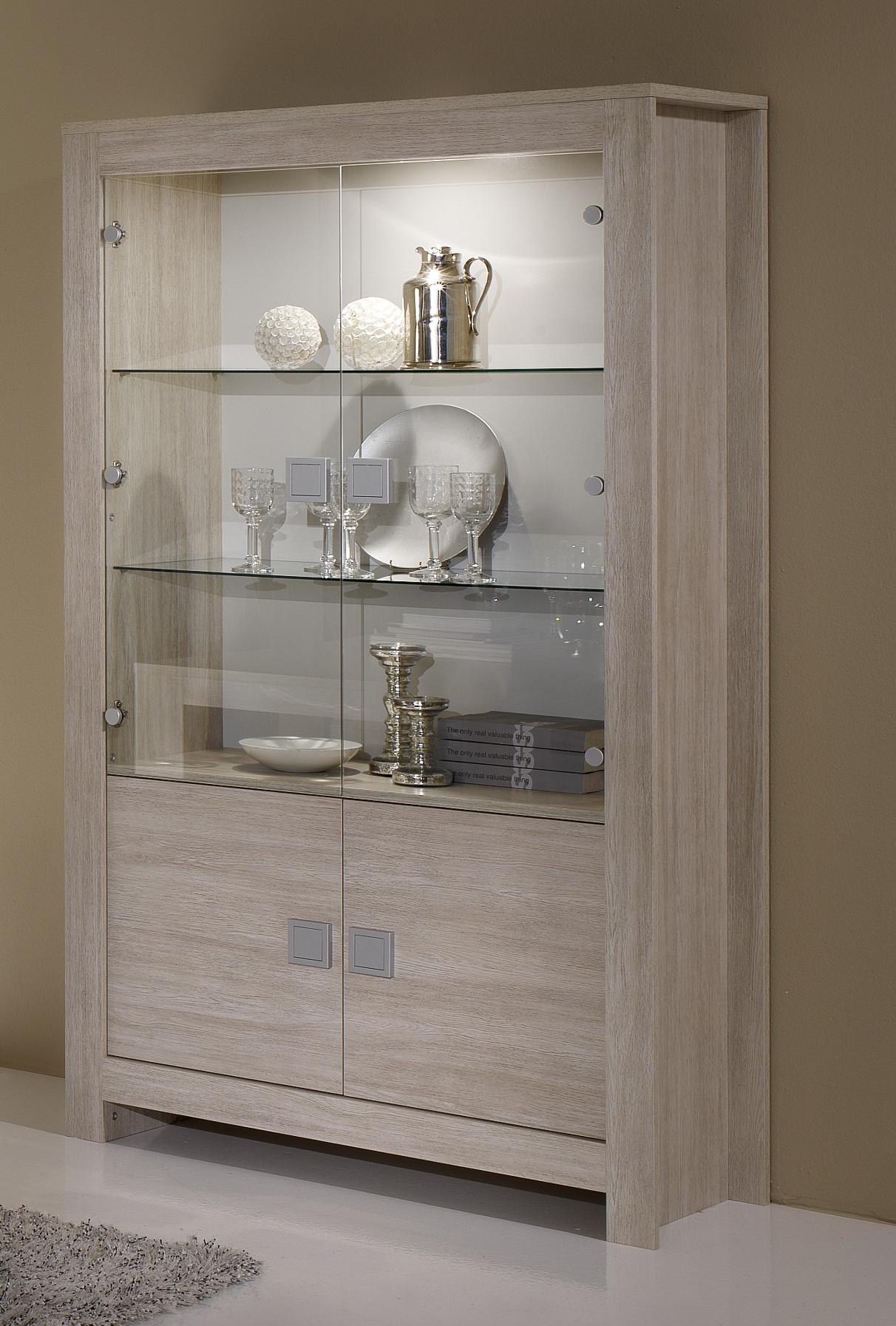 Vitrine 2 portes contemporaine chêne blanchi Clea