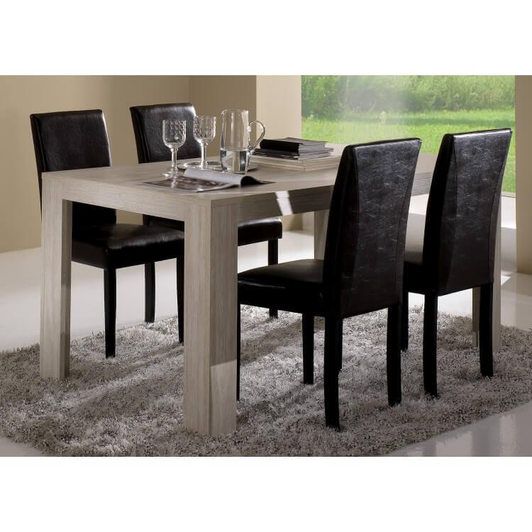 Table de salle à manger contemporaine chêne blanchi Clea
