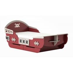 Lit bateau enfant contemporain chêne brossé/rouge Barbenoire