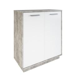 Meuble de rangement contemporain 2 portes blanc/béton Sismo