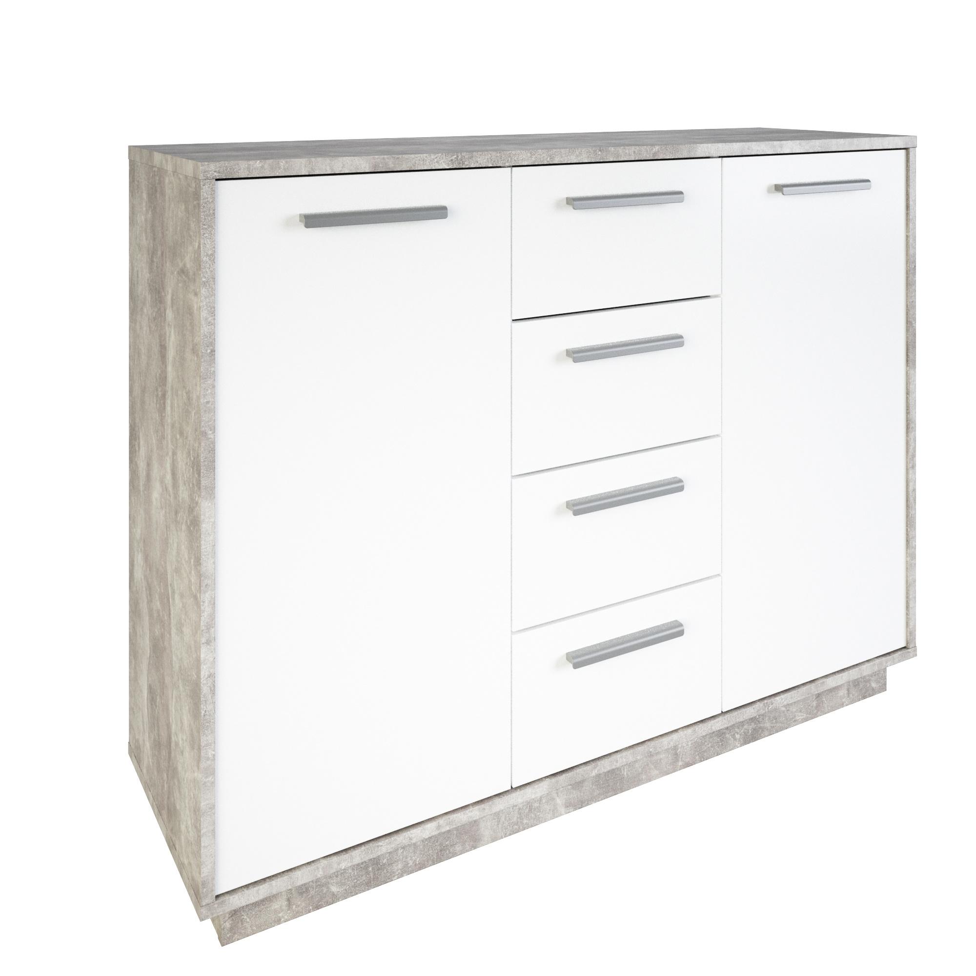 Meuble de rangement contemporain 2 portes/4 tiroirs blanc/béton Sismo