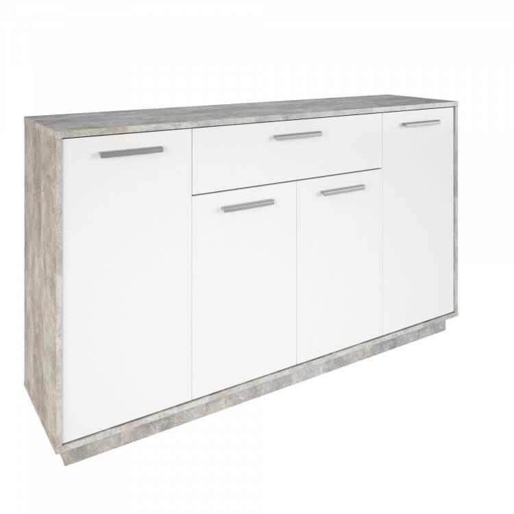 Meuble de rangement contemporain 4 portes/1 tiroir blanc/béton Sismo