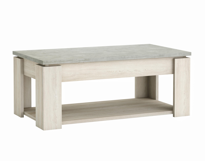 Table basse contemporaine chêne clair/béton clair Himalaya