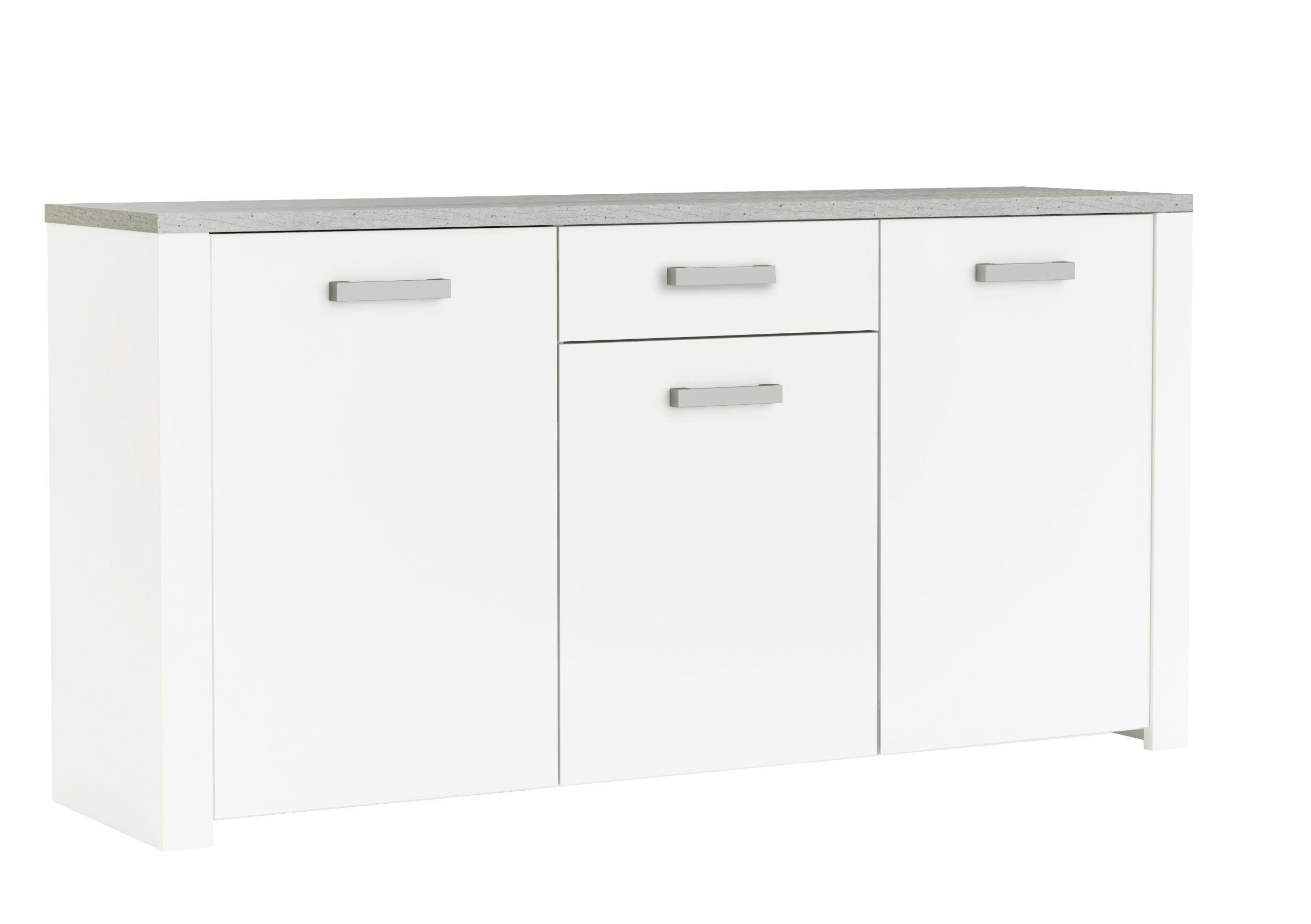 Buffet/bahut contemporain 176 cm blanc perle/gris Torento