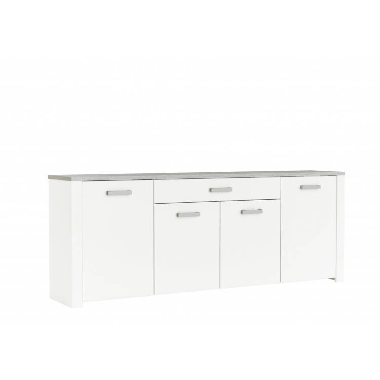 Buffet/bahut contemporain 216 cm blanc perle/gris Torento