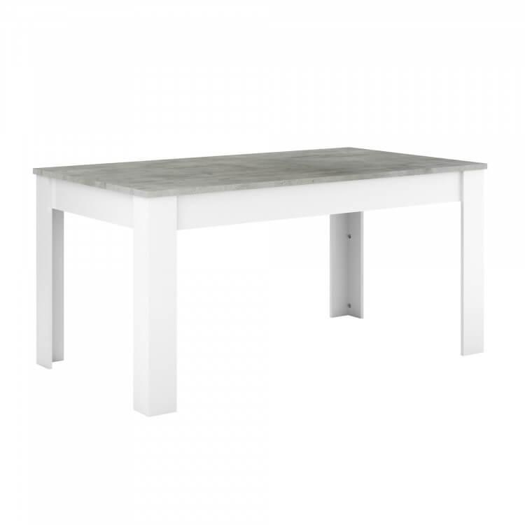 Table de salle à manger contemporaine blanc perle/gris Torento ...