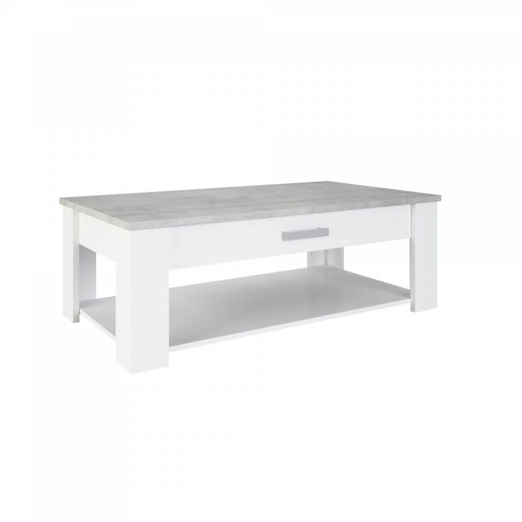 Table Basse Contemporaine Blanc Perle Gris Torento