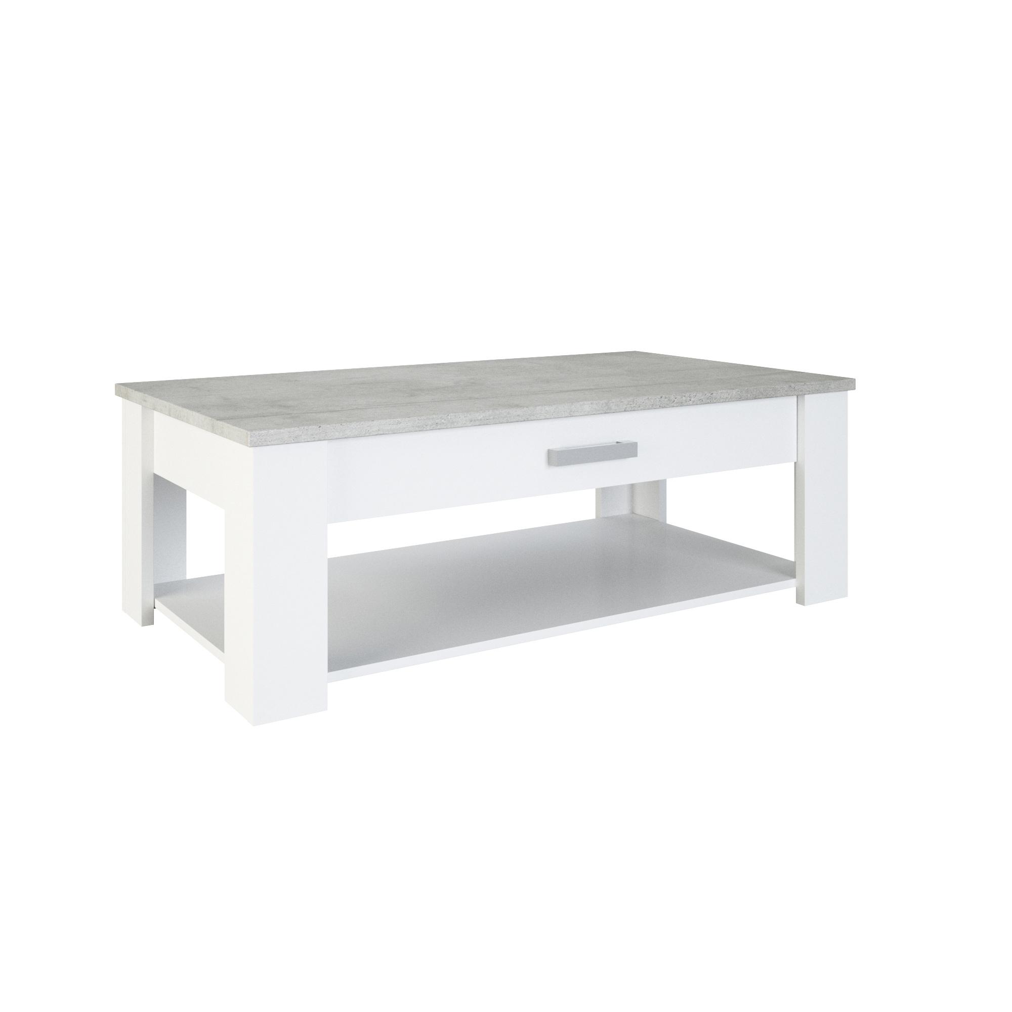 Table basse contemporaine blanc perle/gris Torento