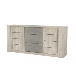 Buffet/bahut contemporain 2 portes/3 tiroirs chêne/béton clair Bali