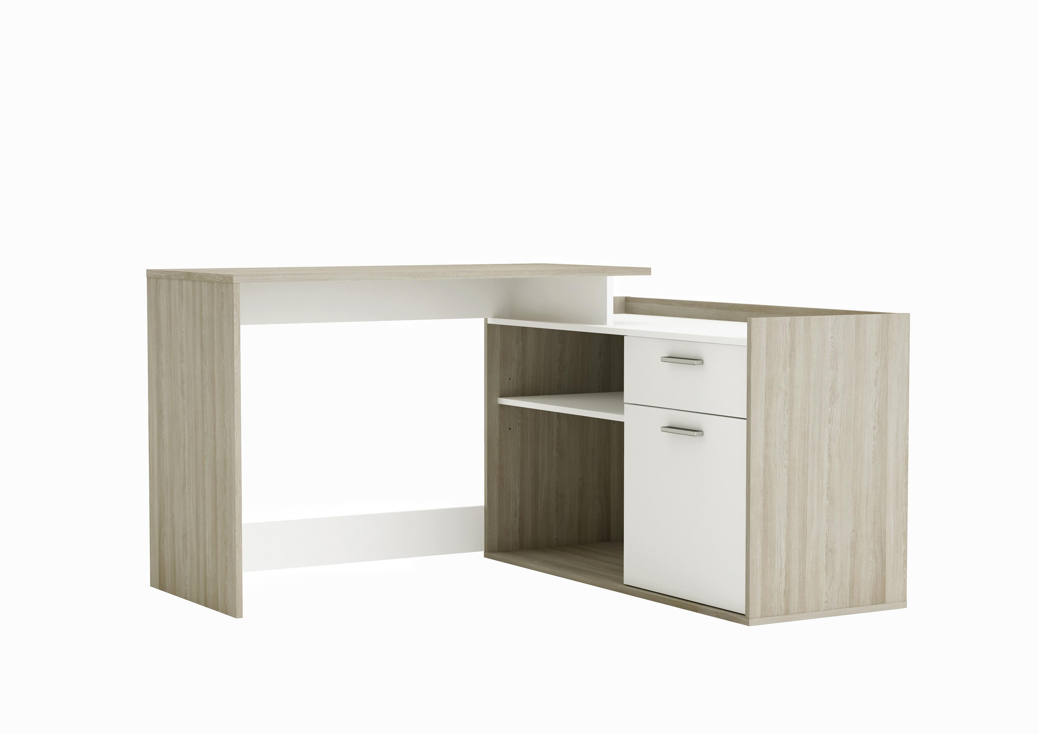 bureau d 39 angle contemporain ch ne clair blanc sherada. Black Bedroom Furniture Sets. Home Design Ideas