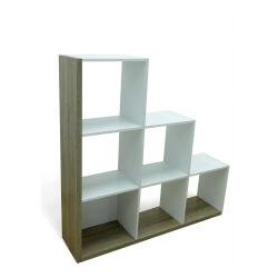 Etagère escalier contemporaine chêne/blanc Patsy