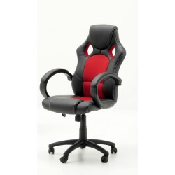 Chaise de bureau design PU noir et tissu rouge Vicky