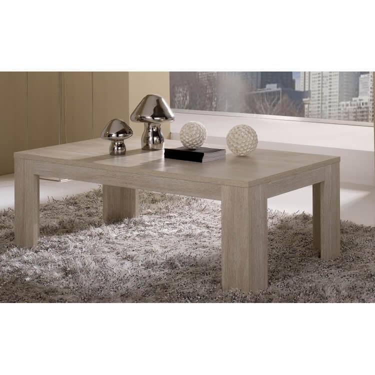 Table basse rectangulaire contemporaine chêne blanchi Clea