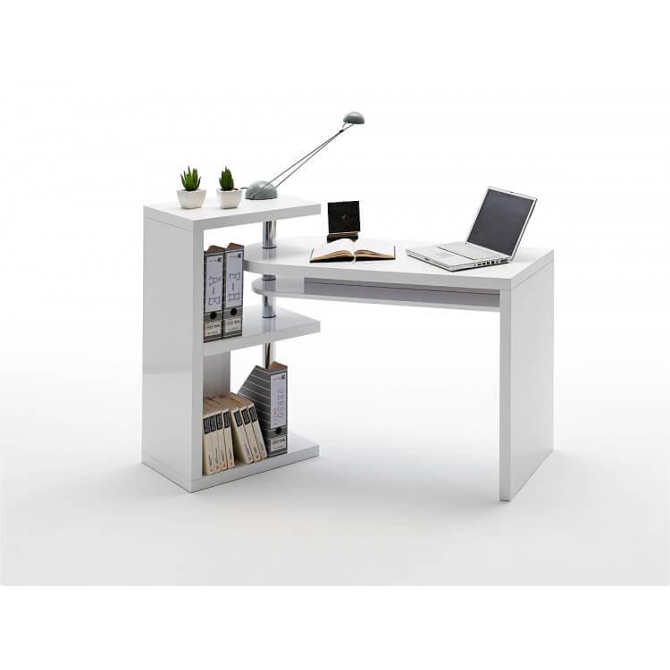 Bureau Informatique Design Laque Blanc Brillant Parisse