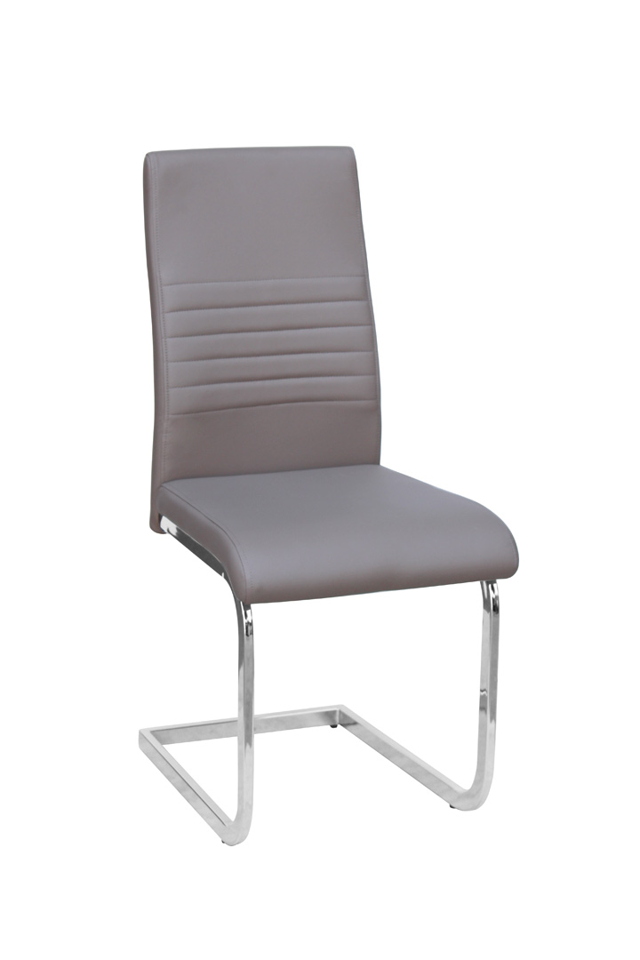 Chaise de salle à manger design en métal & PU coloris beige (lot de 4) Paulo