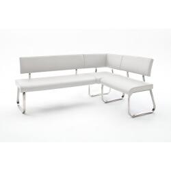 Banc d'angle réversible design métal chromé et PU blanc Doris