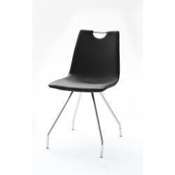 Chaise de salle à manger design PU noir (lot de 4) Oriane