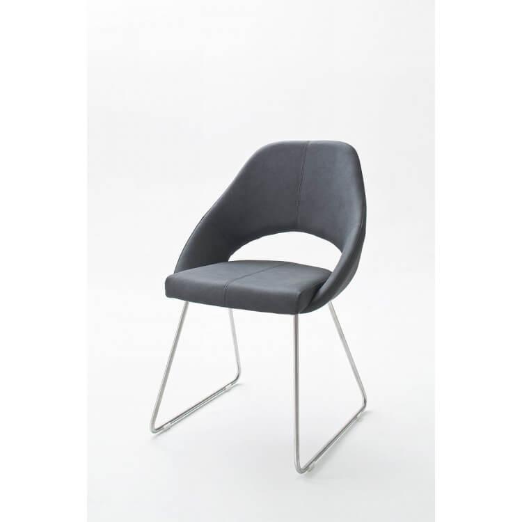 Chaise De Salle à Manger Design En Pu Gris Bleu Lot De 2 Diana