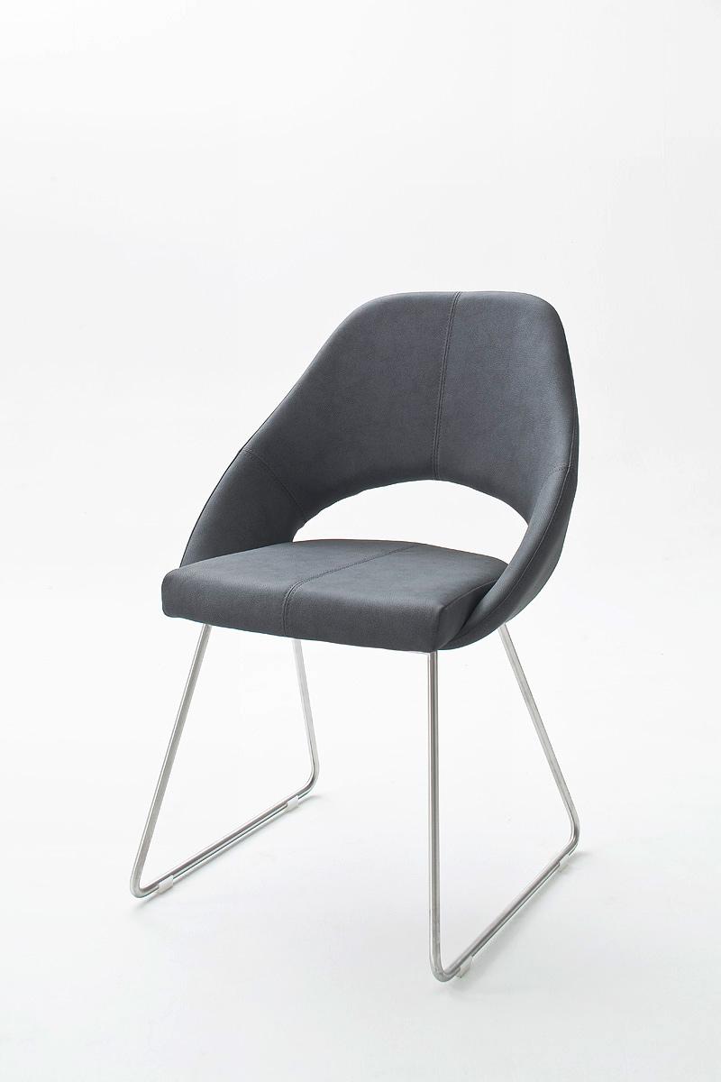 Chaise de salle à manger design en PU gris bleu (lot de 2) Diana