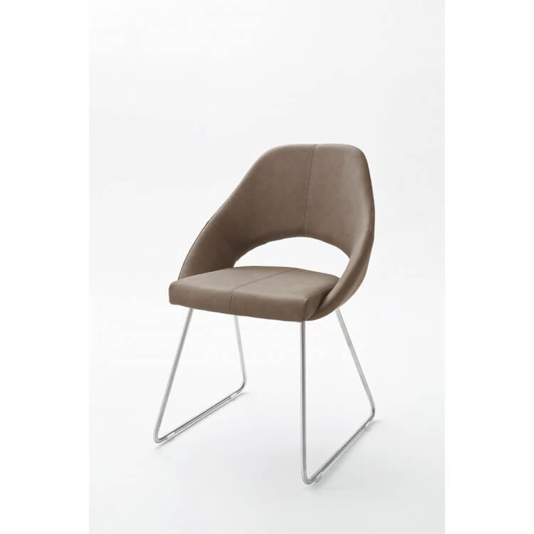 Chaise De Salle à Manger Design En Pu Taupe Lot De 2 Diana Matelpro