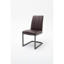 Chaise de salle à manger design en PU marron vintage (lot de 2) Coraya