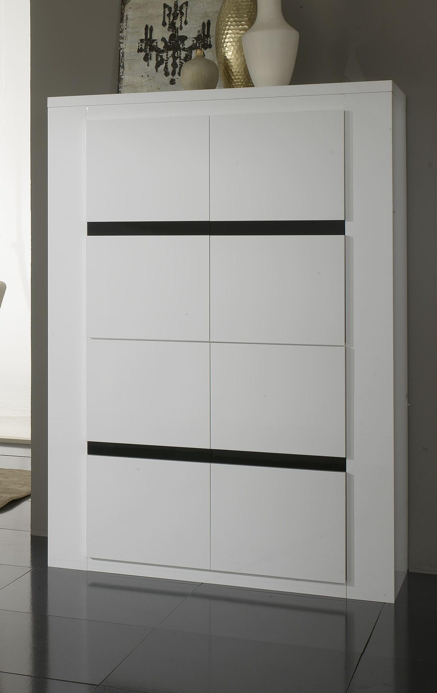 Vaisselier/argentier portes pleines laqué blanc et noir Adriana