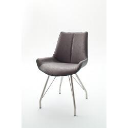 Chaise de salle à manger design tissu et PU gris (lot de 2) Rosita